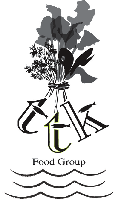 black and white TTK food group logo